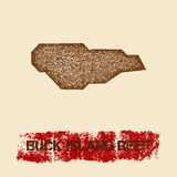 Buck Island Reef distressed map. Grunge patriotic poster with textured island ink stamp and roller paint mark, vector illustration Stock Photo