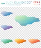 Buck Island Reef geometric polygonal maps, mosaic. Buck Island Reef geometric polygonal maps, mosaic style island collection. Likable low poly style, modern Royalty Free Stock Photo