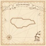 Buck Island Reef old treasure map. Sepia engraved template of pirate island parchment. Stylized manuscript on vintage paper Stock Image