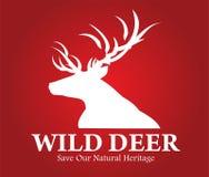 buck Los ciervos siluetean con la cosechadora hermosa del cuerno con el texto ilustración del vector