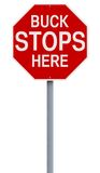 Buck Stops Here. A modified stop sign with an idiomatic expression Stock Photos