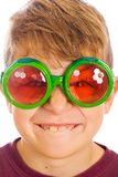 Buck tooth boy with bug glasses Royalty Free Stock Photos
