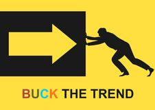 Buck the trend. Human silhouette pushing a box. Flat vector stock illustration