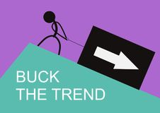 Buck the trend. Stick figure pulling up a box with arrow. Flat vector vector illustration