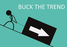 Buck the trend. Stick figure pulling up a box with arrow. Flat vector royalty free illustration