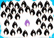Buck the trend. A group of black penguins with one in a different color. Flat vector royalty free illustration