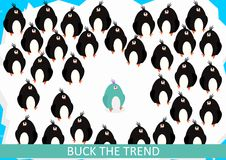 Buck the trend. A group of black penguins with one in a different color. Flat vector stock illustration