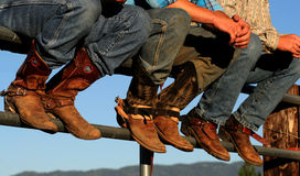 Buckaroo's Boots 3. Well worn boots adorn the wranglers at rodeo in small county fair, Idaho royalty free stock images