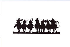 Buckaroos - cowboys with lariats Royalty Free Stock Photos