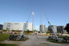 Buckelbrücke i Duisburg Fotografering för Bildbyråer