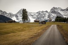 Buckelwiesen with Karwendel Mountains, Bavaria, Germany Royalty Free Stock Photography