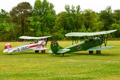 BUCKER BU 133 JUNGMEISTER and a POLIKARPOV PO-2 MULE Royalty Free Stock Photo