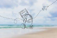 Bucket список назначения перемещения, с игрушками пляжа и самолетом Стоковое Изображение RF