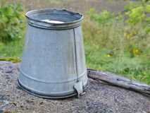 Bucket. A metal cucket in the garden Stock Images