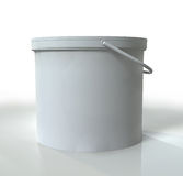Bucket. A 3D Blank Bucket placed on a white reflective background Stock Image