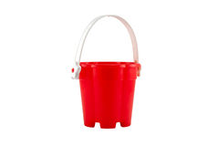 Bucket. Big Red Bucket, isolated on white with path Stock Photo