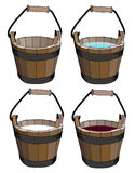 Bucket. Four buckets with water, milk and wine Royalty Free Stock Image