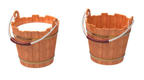 Bucket. Wooden bucket filled and empty on a white background Royalty Free Stock Photos