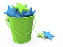 Bucket. Plastic bucket with stars in it Stock Photo