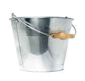 Bucket. Galvanized steel bucket, isolated on white backgr Stock Photography