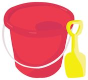 Bucket. Digital illustration of a bucket and spade Stock Image