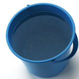 Bucket. A blue bucket filled with dirty water on white Stock Photography