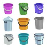 Bucket And Pail Set. Empty Containers With Handle, Trash Bins And Buckets With Water. Cartoon Isolated Set Royalty Free Stock Photo