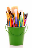 Bucket of Artist Brushes Stock Images