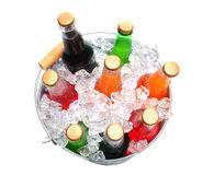Bucket of Assorted Soda Bottles Royalty Free Stock Photography
