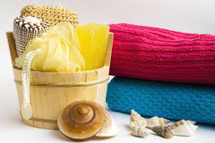 Bucket with bath accessories Stock Photo