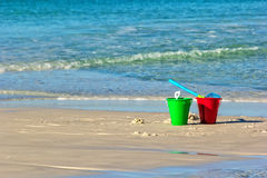 Bucket on the Beach Royalty Free Stock Photos