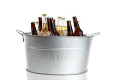 Bucket of Beer. Ice cold beer in a metal bucket Royalty Free Stock Photos