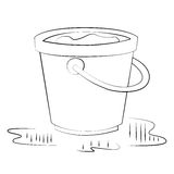 Bucket. Black outline vector bucket on white background Royalty Free Stock Photos