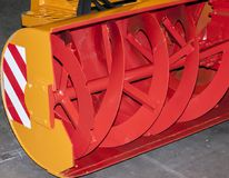 Snow cleaning machine. Bucket with blades for snow removal on roads Royalty Free Stock Photos