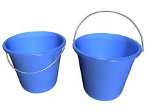 Bucket Blue, Front Half Inside View_Raster  Stock Photos