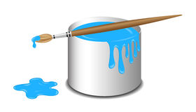 Bucket of blue paint and a brush Stock Images