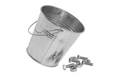 A bucket of bolts and nuts Royalty Free Stock Photos