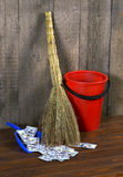 Bucket, broom and dustpan Stock Photos