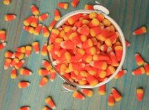 Bucket of candy corns spilled out on wooden floor Stock Images