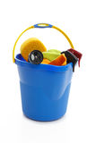 Bucket and car cleaning products Stock Image