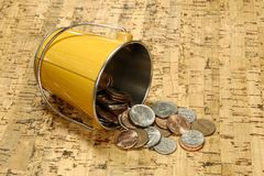 Bucket of Cash stock photos