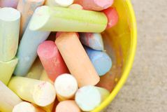 Bucket of chalk Stock Photo