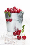 Bucket with cherries Stock Images