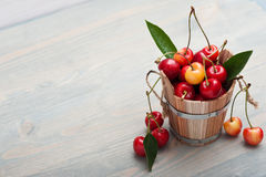 The bucket of cherries Royalty Free Stock Image
