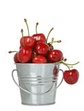 Bucket of cherries Royalty Free Stock Photography