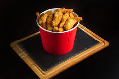 Bucket of chicken nagets. Royalty Free Stock Images
