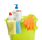 Bucket with cleaners supplies Stock Images