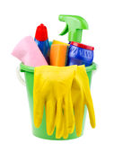 Bucket with cleaning articles Stock Photos