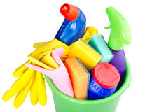 Bucket with cleaning articles Stock Photo