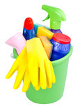 Bucket with cleaning articles Royalty Free Stock Image